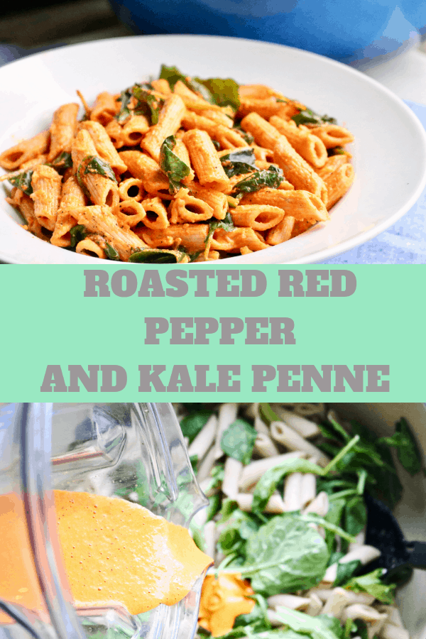 Roasted red pepper and kale penne