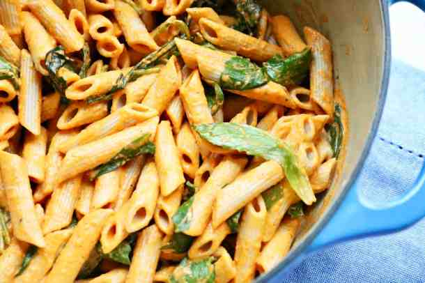Penne pasta with sauce in pot