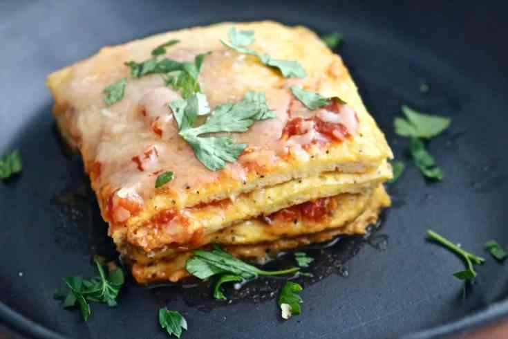 Noodle-free and low-carb.  This egg lasagna recipe is not your mama's version but is lighter, higher in protein, super easy, vegetarian and is still layered with sauce and cheese. All the comfort food feels but guilt-free!