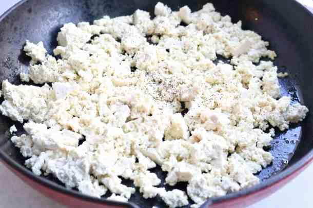 Crumbled tofu in pan