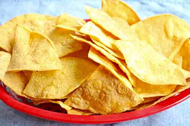 Baked Tortilla chips in a basket