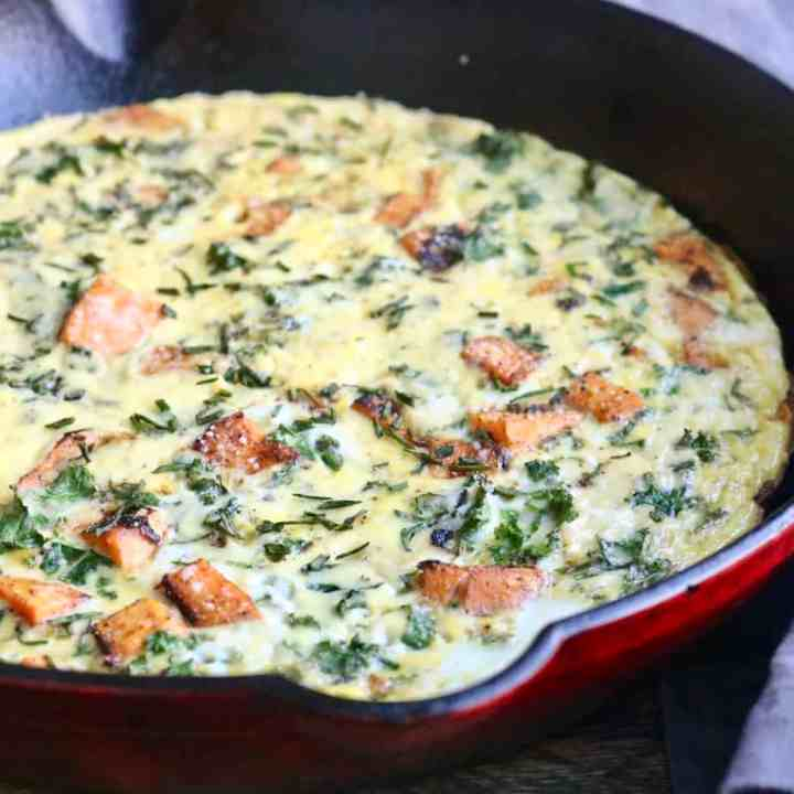 Kale sweet potato frittata in pan