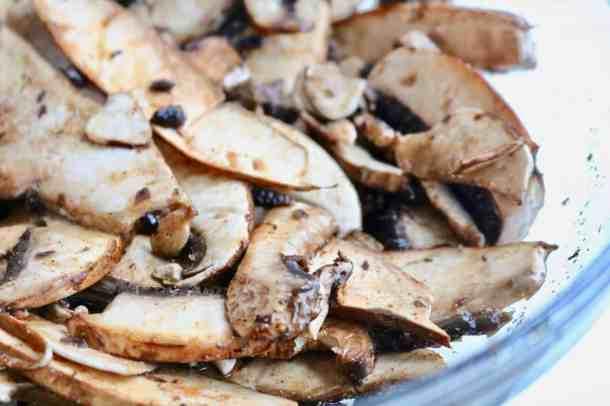 Marinating mushrooms in a bowl