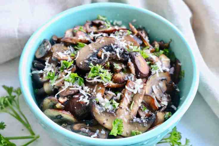 Hearty, meaty mushrooms sautéed to golden brown, covered in salty butter, garlic and parsley. These take 15 minutes, are so delicious and can be eaten as a side, in buddha bowls, pastas, salads or toppings on pizza! Gluten-free, vegetarian with a vegan option.