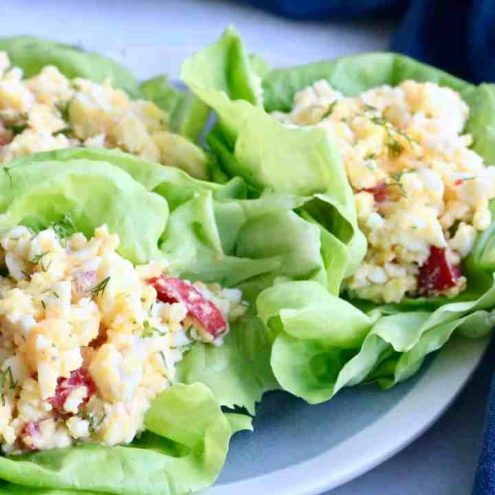 Egg salad lettuce cups on plate