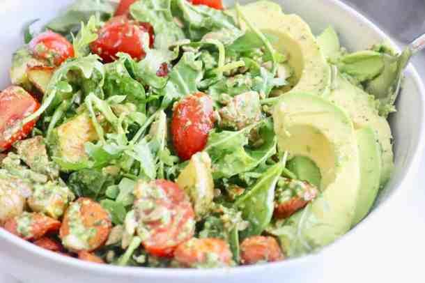 Spinach Arugula Lemon Pesto Salad
