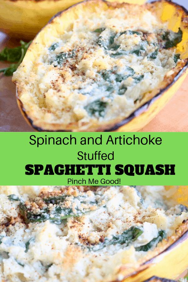 Spinach and Artichoke Stuffed Spaghetti Squash