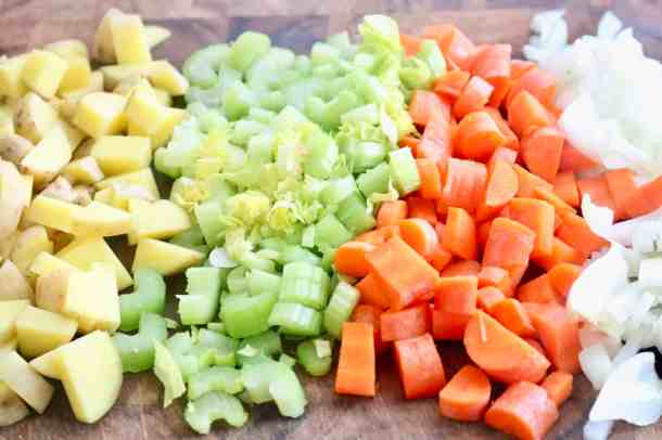 Veggies for instant pot lemony lentil soup
