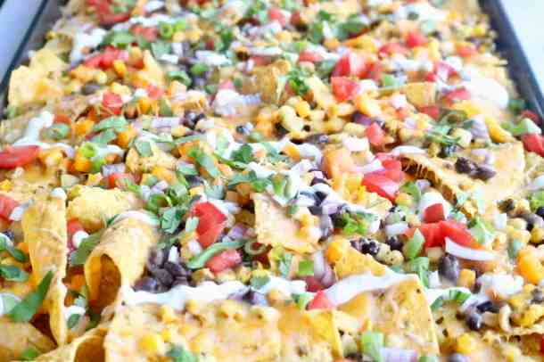 Black bean and corn nachos