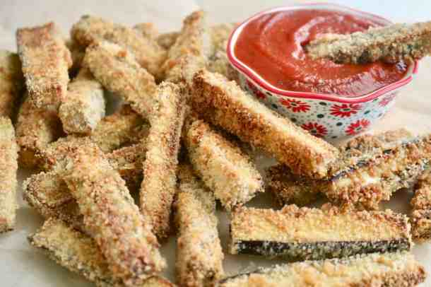 Plate of easy baked eggplant fries