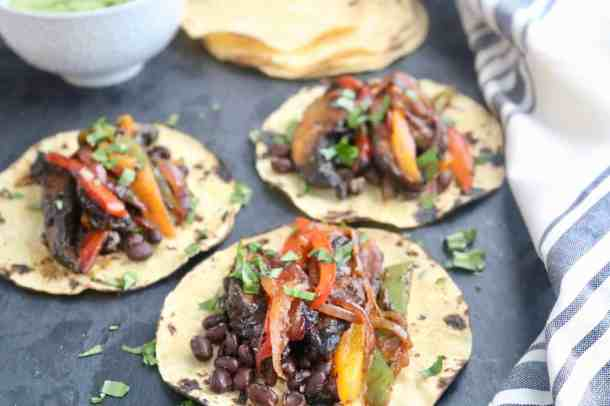 3 Black Bean Veggie Fajitas on a tray