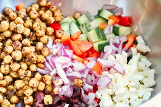 Veggies and roasted chickpeas in a bowl