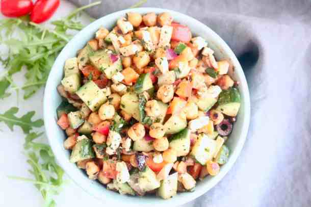 Aerial view of mediterranean  roasted chickpea salad