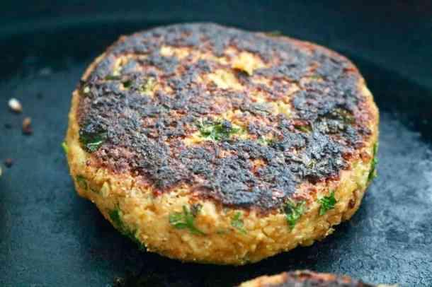 Chickpea Cauliflower Burger in Pan