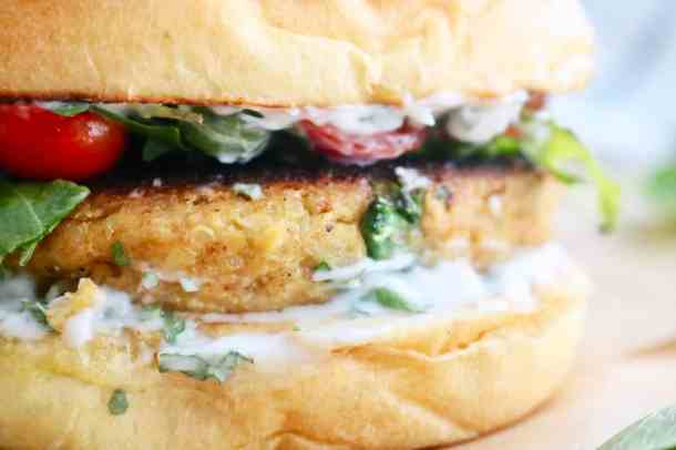 Close up of Chickpea Cauliflower Burger