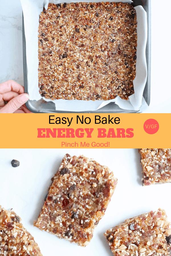 Easy No Bake Energy Bars - Vegan and Gluten-Free