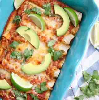 Pan of black bean enchiladas