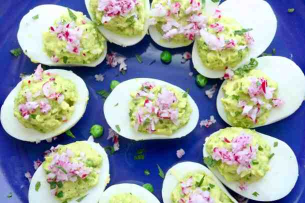 Aerial view of deviled eggs