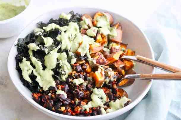 Nourish bowl of grains and veggies