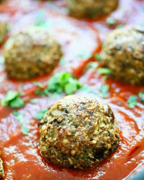 Eggplant meatbnalls in tomato sauce