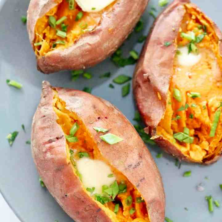 Instant Pot Sweet Potatoes on a plate