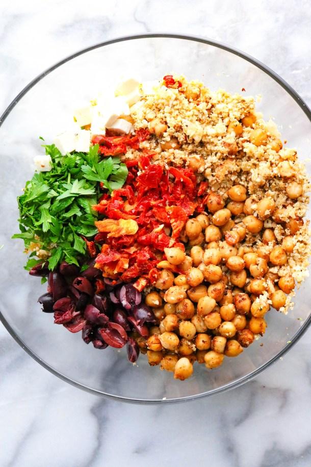 Ingredients for Mediterranean cauliflower rice in a bowl