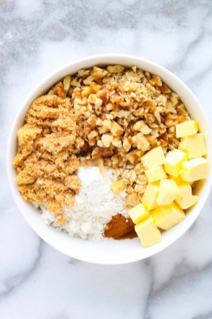 Add crumble ingredients to a mixing bowl