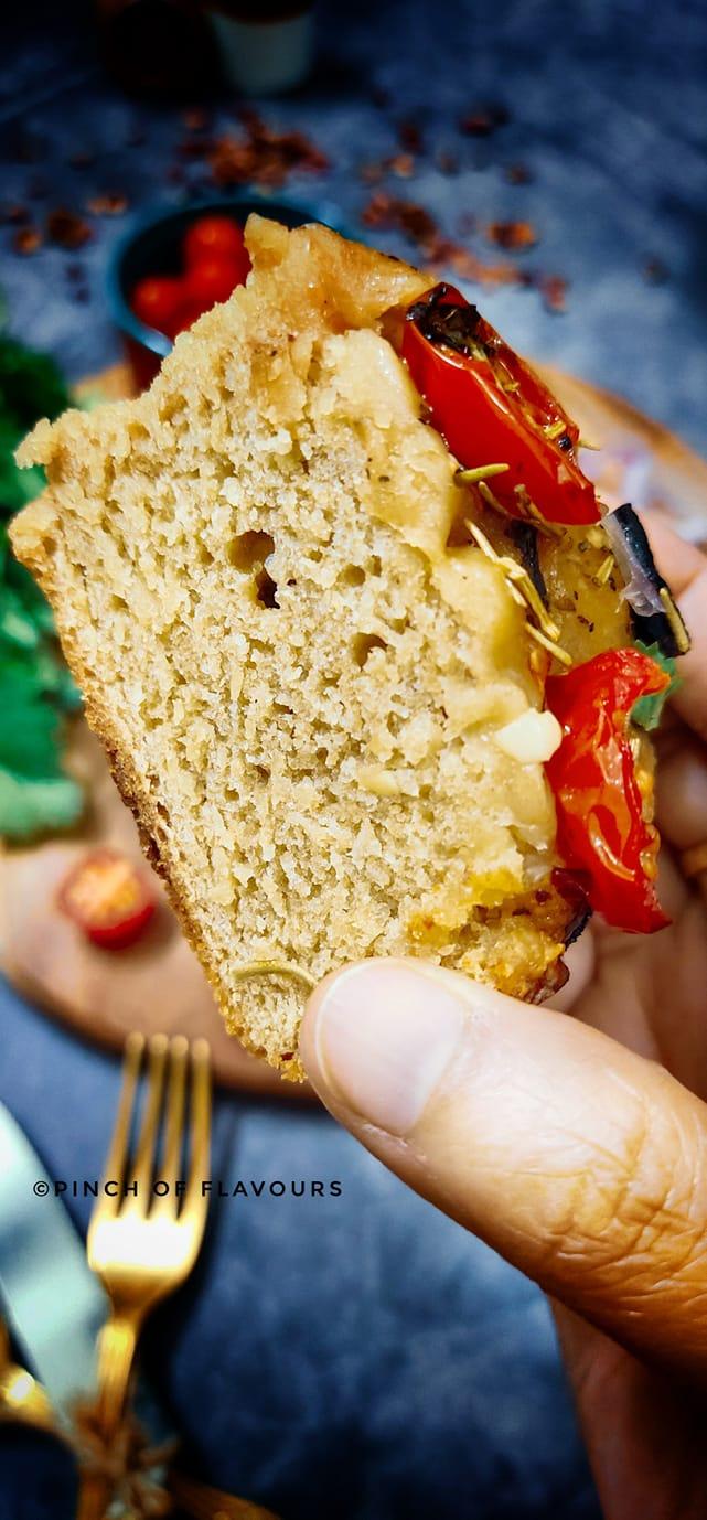 Foccacia Recipe (Whole Wheat) - Tomato & Olive