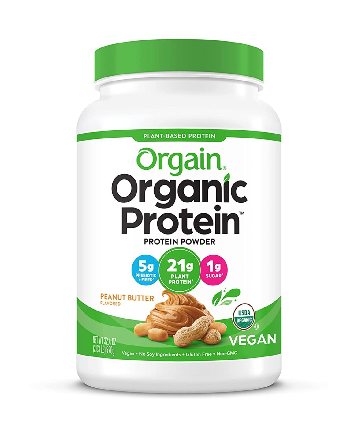 Orgain Organic Plant Based Protein Powder, Peanut Butter – Vegan
