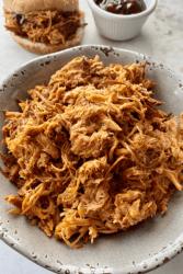 bowl of shredded bbq chicken