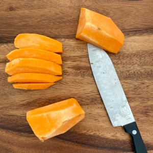 how to cube a sweet potato