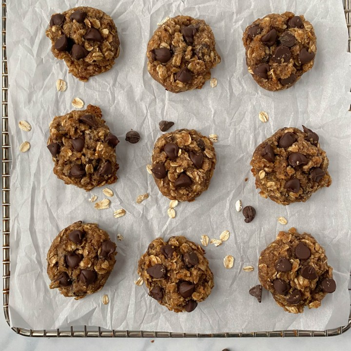 Almond Flour Oatmeal Cookies on a cookie sheet