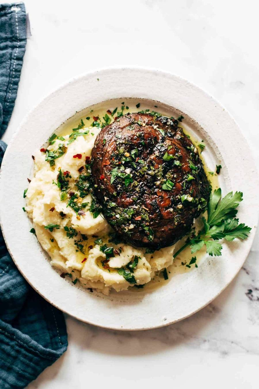 Grilled portobello on goat cheese mashed potatoes.