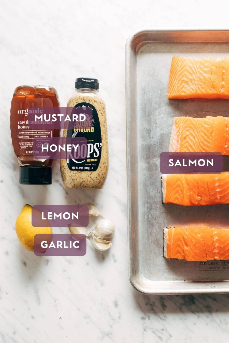 Ingredients for hot honey salmon. Each ingredient is labeled with the name in a purple bubble.