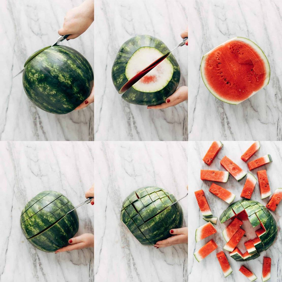Collage showing how to cut a watermelon into sticks.