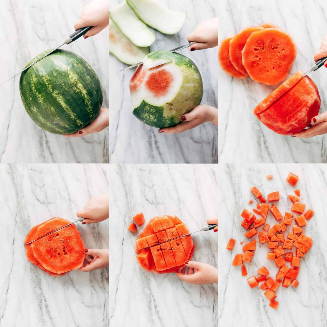 Collage showing how to cut a watermelon into cubes.