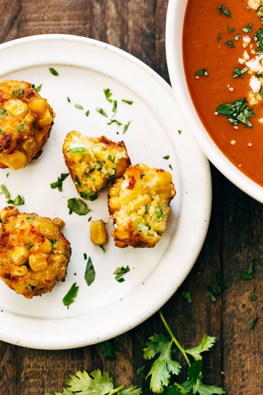 Jalapeno corn fritters on a plate.