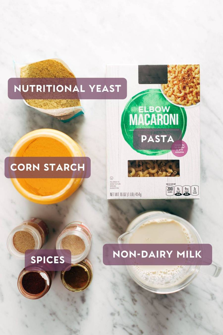 Ingredients for vegan mac and cheese with purple text bubbles over the top.