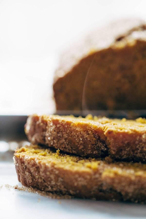 Pumpkin bread sliced.