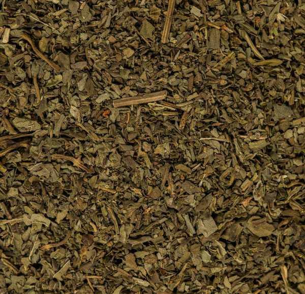 close up green dried basil