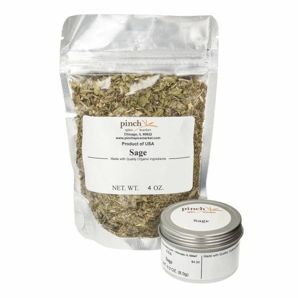 bag tin of organic cooking sage