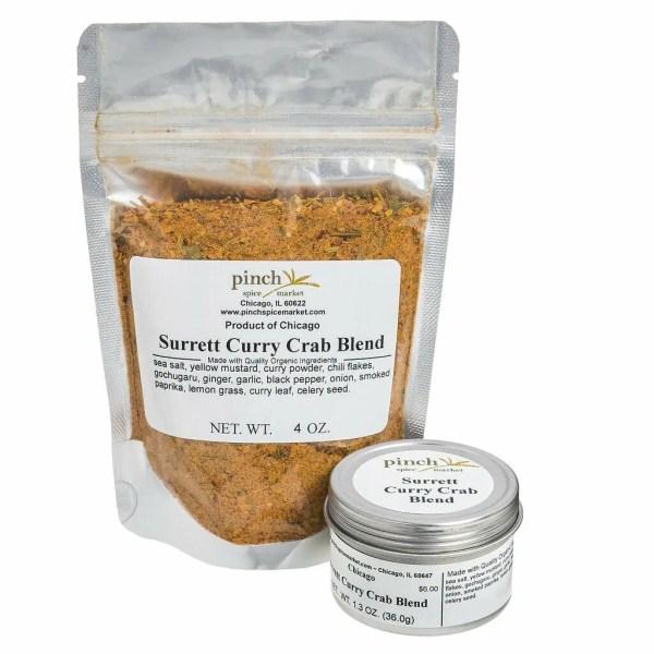 surrett crab spice blend recipe in bag tin