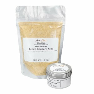 bag and tin of yellow mustard seed powder