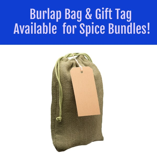 tan or green burlap gift box for spices