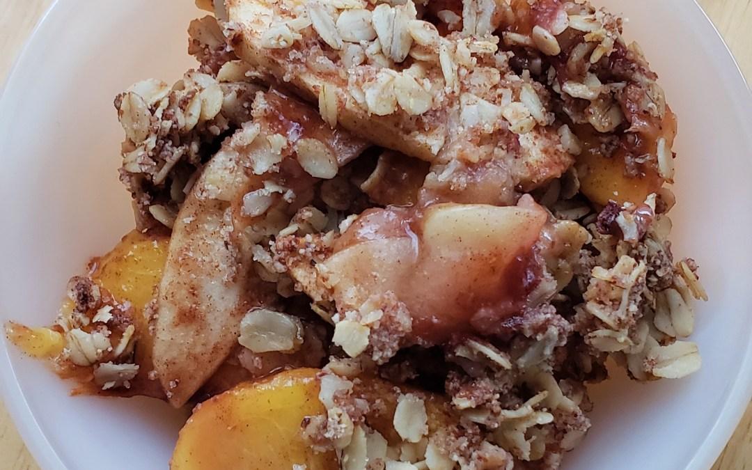Apple Peach Almond Crumble