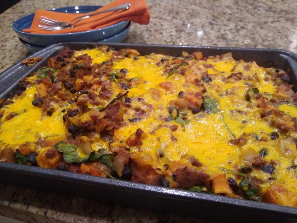 Honey Chipotle BBQ Enchilada Casserole (with Vegetarian Option)
