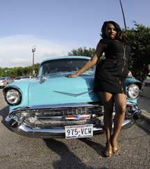 """Honey Cocoa Bordeauxx models with a 1957 Bellaire that took home the """"Best in Show"""" hot rod award"""