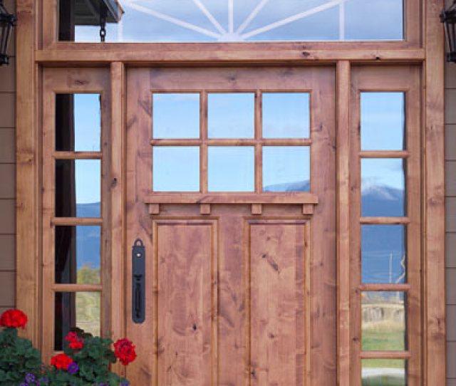 Solid Wood Door In Log Home Craftsman Entry Door With Shelf And Sidelights