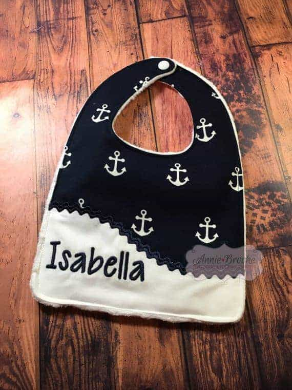 personalized nautical bib