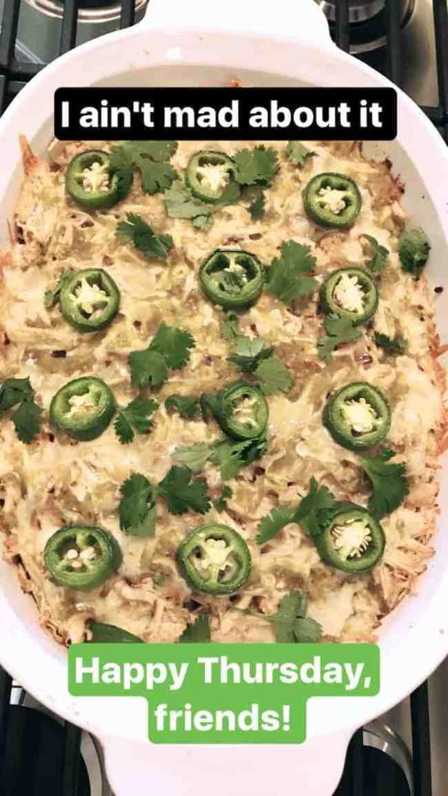 Salsa Verde Chicken Tostada Casserole + Furniture Refinishing